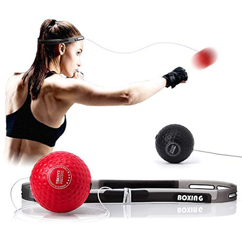 Image of TEKXYZ Boxing Reflex Ball, 2 Difficulty Level Boxing Ball with Headband, Softer Than Tennis Ball, Perfect for Reaction, Agility, Punching Speed, Fight Skill and Hand Eye Coordination Training