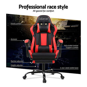 Artiss Gaming Chair Office Computer Racing PU Leather Adjustable Executive Chair with Armrest Highback Black Red