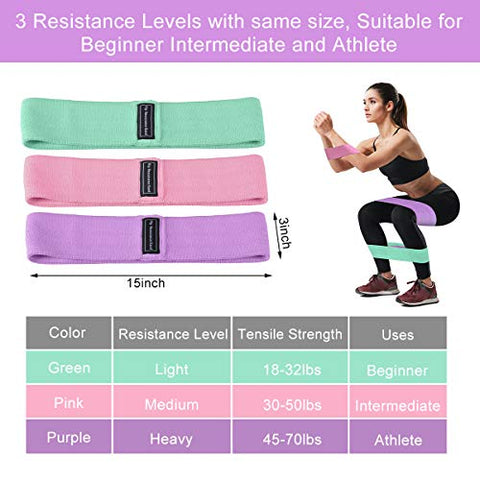 Image of Strength Booty Fabric Bands, Fabric Resistance Bands for Legs and Booty, Workout Hip Circle Bands and Carrying Bag Included, 3 Pack/Set SP147