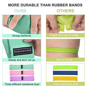 Strength Booty Fabric Bands, Fabric Resistance Bands for Legs and Booty, Workout Hip Circle Bands and Carrying Bag Included, 3 Pack/Set SP147
