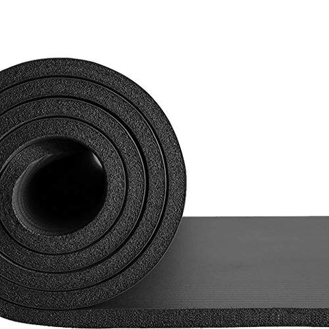 Image of Large & Extra Thick Exercise Mat with Carrying Strap – 10mm Thick Yoga Mat –The Best of Yoga Mats & Exercise Mats on Amazon – Improve Your Health with this Fitness Mat –Pilates Mat –Ab Mat –Workout mat (Black)