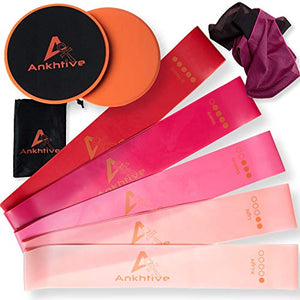 ANKHTIVE Resistance Booty Bands Set of 5, 100% Natural Latex, Bundle with Gliding Discs Exercise Sliders, Cooling Towel & Carrying Bag. Portable Fitness Starter Kit for Home and Outdoor Workout