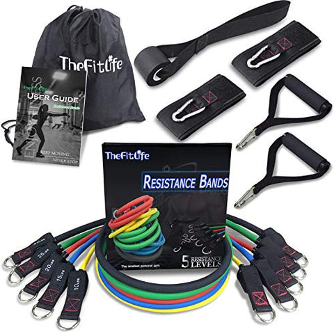 Image of TheFitLife Exercise and Resistance Bands Set - Stackable up to 110 lbs Workout Tubes for Indoor and Outdoor Sports, Fitness, Suspension, Speed Strength, Baseball Softball Training, Home Gym, Yoga …