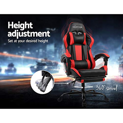 Image of Artiss Gaming Chair Office Computer Racing PU Leather Adjustable Executive Chair with Armrest Highback Black Red