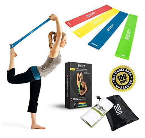 Image of Superior Resistance Bands - Set of 4 Exercise Fitness Loops - Suitable for Men and Women - Ideal for Mobility Yoga Pilates or Physical Therapy - Bonus Workout Videos Online, Instructions & Carry Bag
