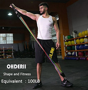 OHDERII Resistance Band Set - Include 5 Stackable Exercise Bands with Waterproof Carrying Case, Door Anchor Attachment, Legs Ankle Straps and 4 Foam Handles