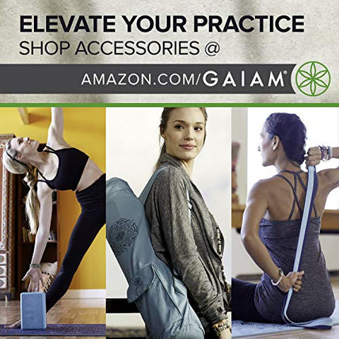 Gaiam Yoga Mat Premium Print Reversible Extra Thick Exercise & Fitness Mat for All Types of Yoga, Pilates & Floor Exercises, Reversible Print Yoga Mat, 05-63143, Fossil Flair, 6mm