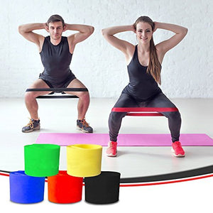 Resistance Loop Bands Exercise Bands Set of 5 Natural Latex Fitness Bands for Workout and Physical Therapy E-Guide, Pilates, Yoga, Rehab, Improve Mobility and Strength
