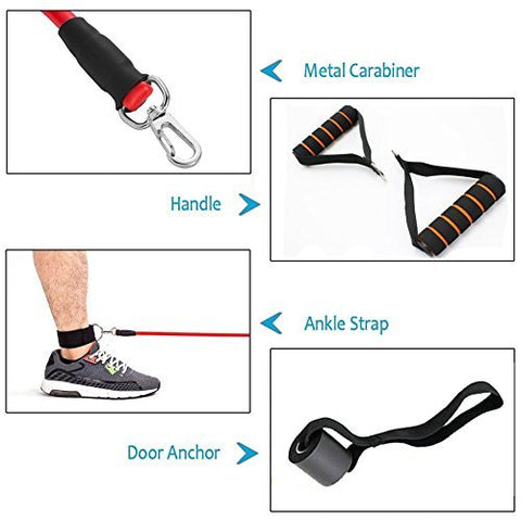 Image of Resistance Bands Set, Exercise Fitness Bands with Door Anchor, 5 Exercise Bands, Stretch Rope, Foam Handles, Legs Ankle Straps, Exercise Guide for Resistance Training, Home Workouts