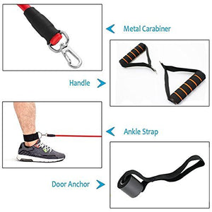 Resistance Bands Set, Exercise Fitness Bands with Door Anchor, 5 Exercise Bands, Stretch Rope, Foam Handles, Legs Ankle Straps, Exercise Guide for Resistance Training, Home Workouts