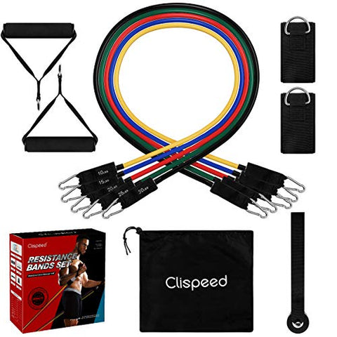 Image of Clispeed Stackable Resistance Bands 11-Piece Set with Extra Large Handles, Door Anchor, Ankle Straps, Exercise Guide and Carrying Case