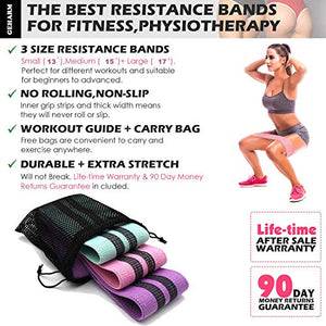 Resistance Booty Band Set:3 Non-Slip Fabric Exercise Bands for Butt, Leg and Arm Workout. Perfect Gym and home Workouts for women. Exercise Program and Carry Bag Included.Same resistance level.