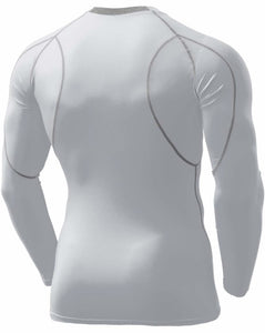 Tesla Men's Long Sleeve Round Neck T-Shirt Baselayer Cool Dry Compression Top MUD11-WHT