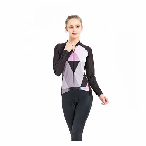 Image of Women's Cycling Long Sleeve Breathable Jersey Set 3D Padded Long Pants Bike Shirt Bicycle Tights Clothing