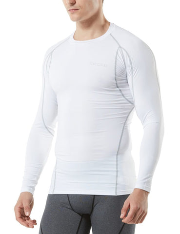 Image of Tesla Men's Long Sleeve Round Neck T-Shirt Baselayer Cool Dry Compression Top MUD11-WHT