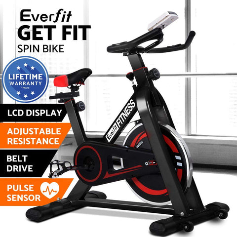Image of Everfit Spin Exercise Bike Cycling Fitness Commercial Home Workout Gym Black