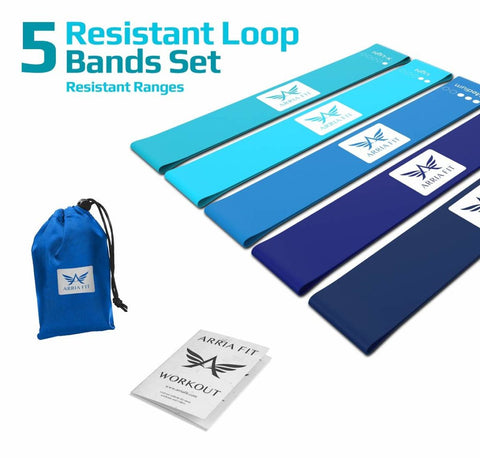 Image of ARRIA FIT Resistance Bands Set of Five Resistance Loop Bands for Fitness Booty Building Leg and Glute Activation Exercise with Carry Bag Fitness Booty Bands Physical (Blue Collection)