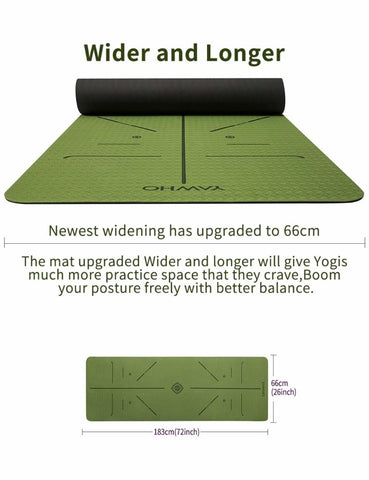 Image of Yoga Mat Fitness Mat Eco Friendly Material SGS Certified Ingredients TPE Specifications 72'' x 24'' Thickness 1/4-Inch Non-Slip Extra Large Fitness Mat with Carry Bag (Green)