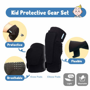 Innovative Soft Kids Knee and Elbow Pads with Bike Gloves - Toddler Protective Gear Set w/Mesh Bag& Sticker CSPC Certified - Roller-Skating, Skateboard Knee Pads for Kids Child Boys Girls (Black, Small (2-4 years))