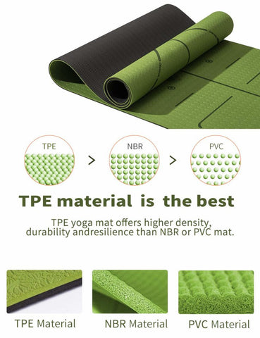 Yoga Mat Fitness Mat Eco Friendly Material SGS Certified Ingredients TPE Specifications 72'' x 24'' Thickness 1/4-Inch Non-Slip Extra Large Fitness Mat with Carry Bag (Green)