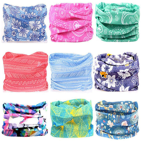 Image of KALILY 9PCS Headband Bandana - Versatile Sports & Casual Headwear –Multifunctional Seamless Neck Gaiter, Headwrap, Balaclava, Helmet Liner, Face Mask for Camping, Running, Cycling, Fishing etc (Flower Pack B)
