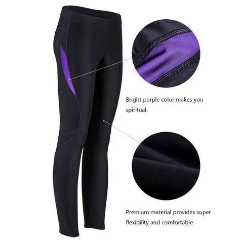 Women's Biking Bicycle Bike Cycle Padded Cycling Underpants Pants Tights Long Bicycle Pants