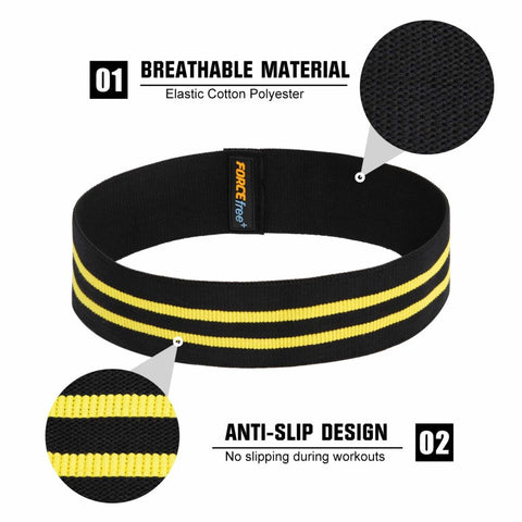 Image of Forcefree+ Hip Resistance Bands - Exercise Bands for Leg, Thigh & Glutes and Butt, Booty - Non-Slip Workout Bands for Men and Women, Yellow-Large