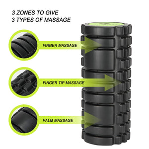 Nooraki 2-in-1 Foam Rollers For Muscles: Deep tissue Massage Foam Roller - High Density, Size 33cm (13inches) Ideal for sore and stressed muscles * BONUS: comes with FREE carry bag.