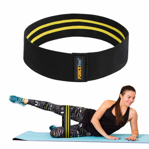 Forcefree+ Hip Resistance Bands - Exercise Bands for Leg, Thigh & Glutes and Butt, Booty - Non-Slip Workout Bands for Men and Women, Yellow-Large