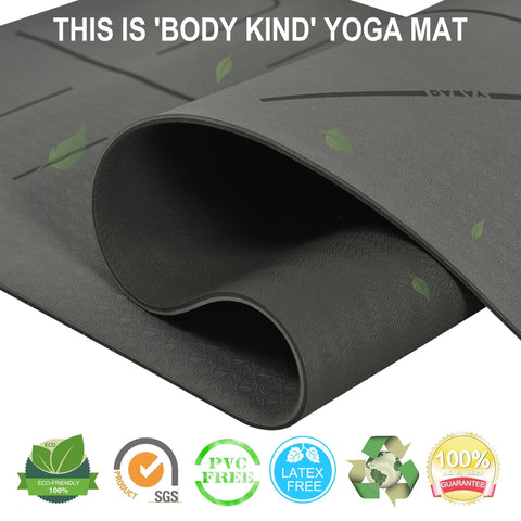 "DAWAY Eco Friendly TPE Yoga Mat Y8 Wide Thick Workout Exercise Mat, Non Slip Grip Pilates Mats, Body Alignment System,Tear Resistant, with Carrying Strap, 72""x 26"" Thickness 6mm, 1 Year Warranty"