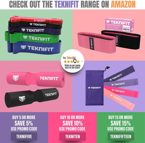 "Teknifit Glute Band - Premium Fabric Resistance Band - Non Slip Design for Women - Pink Or Black Booty Band - Free Workout E-Book with Butt and Leg Toning Exercise Guide (Pink, 13"" - S/M (See Size Guide))"