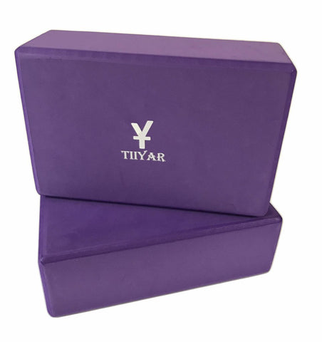 Tiiyar Yoga Block Strap Set - Set of 2 Yoga Block Light Weight and Yoga Strap (3 inch Purple/Medium Density)