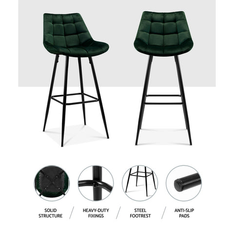 Image of Artiss Kitchen Bar Stools Velvet Bar Stool Counter Chairs Metal Barstools Green