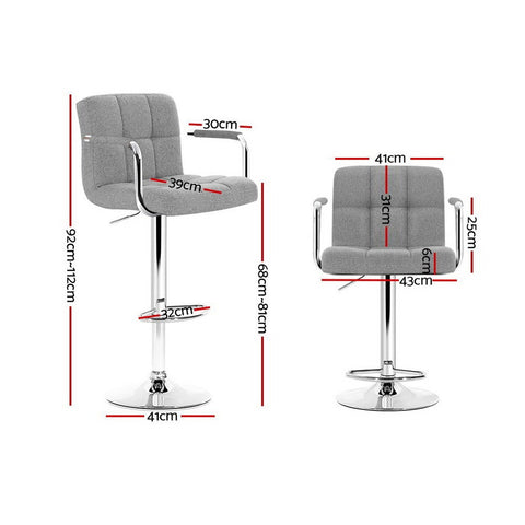 Image of Artiss 2x Bar Stools Kitchen Bar Stool Chairs Gas Lift Swivel Fabric Chrome Grey