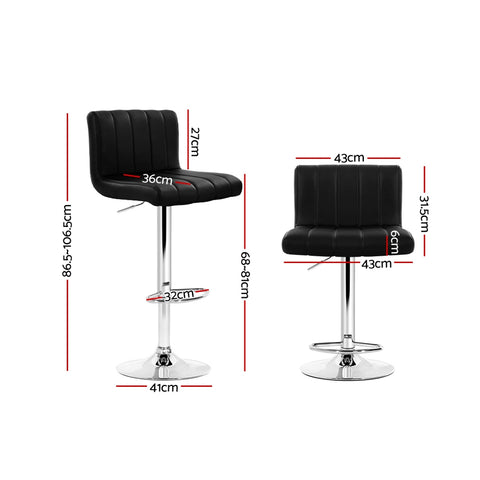 Image of Artiss 2x Leather Bar Stools Kitchen Chair Bar Stool Black Lana Gas Lift Swivel