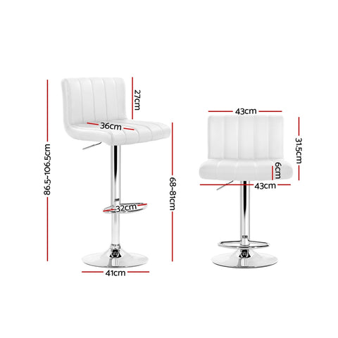Image of Artiss 2x Leather Bar Stools Kitchen Chair Bar Stool White Como Gas Lift Swivel