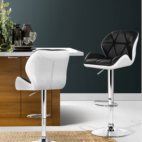 Image of Artiss 2x Kitchen Bar Stools Swivel Bar Stool Chairs Leather Gas Lift Black