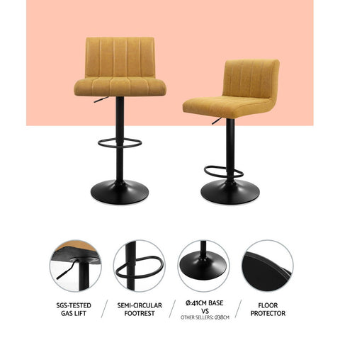 Image of Artiss 2x Kitchen Vintage Bar Stools Swivel Bar Stool Leather Gas Lift Chairs