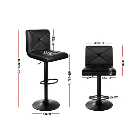 Image of Artiss Set of 2 PU Leather Gas Lift Bar Stools - Black
