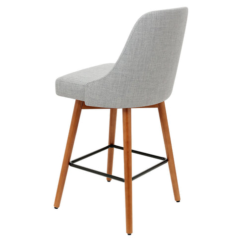 Image of Artiss 2x Wooden Bar Stools Swivel Bar Stool Kitchen Cafe Fabric Light Grey