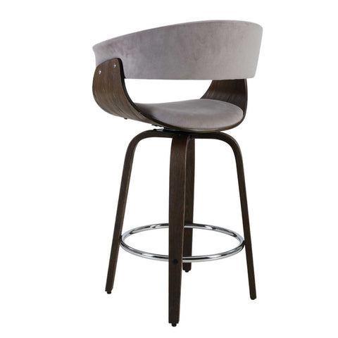 Image of Artiss Bar Stool Wooden Swivel Bar Stool Kitchen Dining Chair Wood Grey