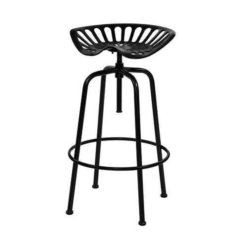 Image of Artiss 1x Kitchen Bar Stools Tractor Stool Chairs Industrial Vintage Retro Swivel Barstools Metal Black