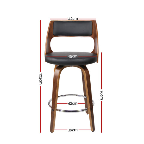 Image of 2xArtiss Wooden Bar Stools Swivel Bar Stool Kitchen Dining Chair Cafe Black 76cm