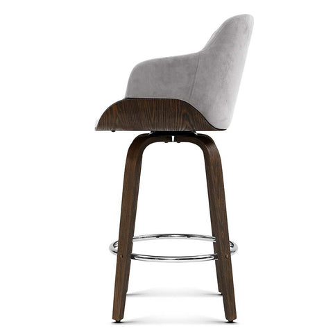 Image of Artiss 1x Kitchen Bar Stools Wooden Bar Stool Chairs Swivel Velvet Fabric Grey
