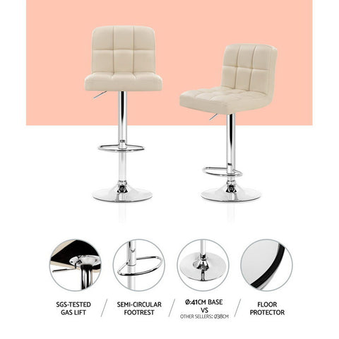 Image of Artiss 2x Leather Bar Stools NOEL Kitchen Chairs Swivel Bar Stool Gas Lift Beige