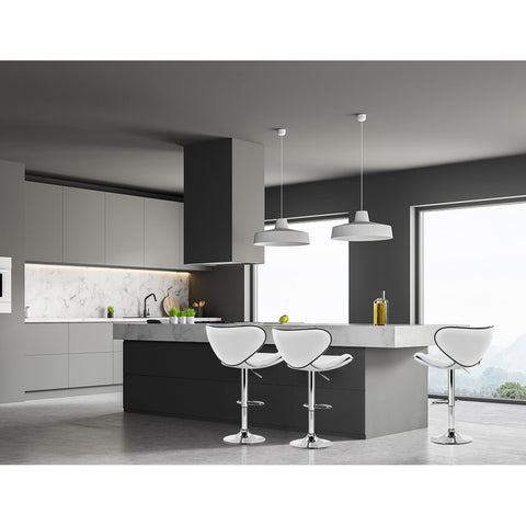 Image of Artiss 2x Bar Stools DINO Kitchen Swivel Bar Stool Leather Gas Lift Chairs White