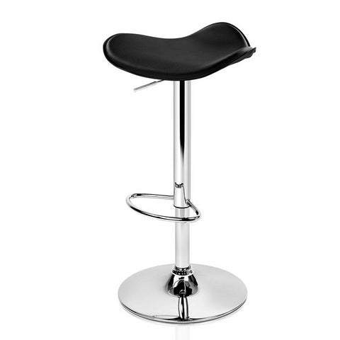 Image of Artiss 2x Gas Lift Bar Stools Swivel Chairs Leather Chrome Black