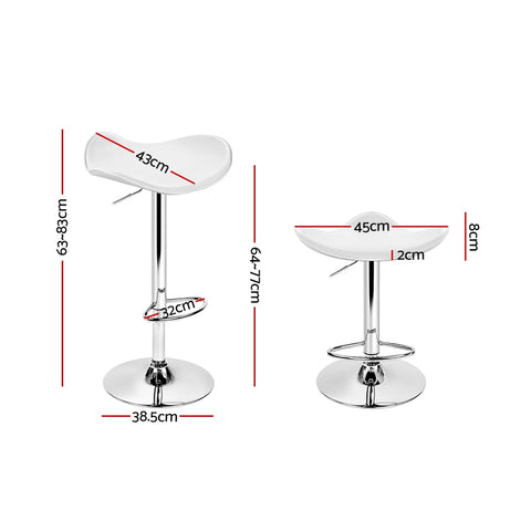 Image of Artiss 2x Gas Lift Bar Stools Swivel Chairs Leather Chrome White