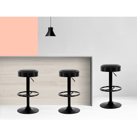 Image of Artiss 2x Kitchen Bar Stools Gas Lift Bar Stool Chairs Swivel Barstools Black