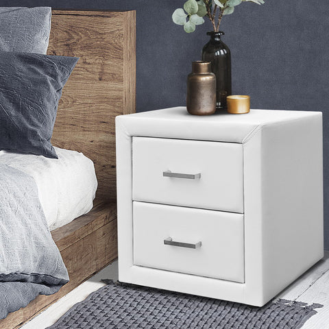 Image of Artiss PVC Leather Bedside Table - White